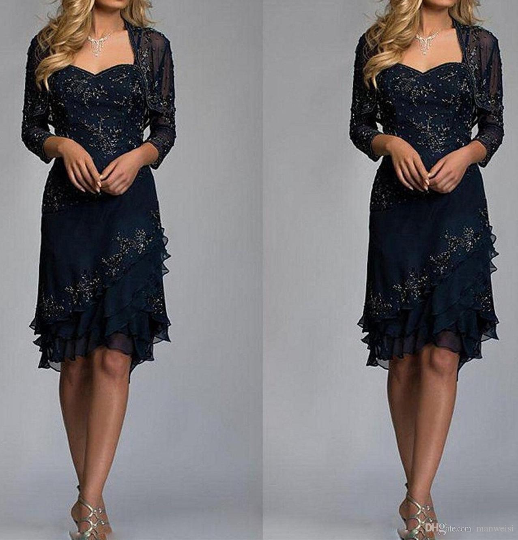 Dunkle Navy Mutter der Brautkleider mit Jacke billig Spitze Hochzeit Gastkleid Knielange Plus Size Mütter Formale Tragen