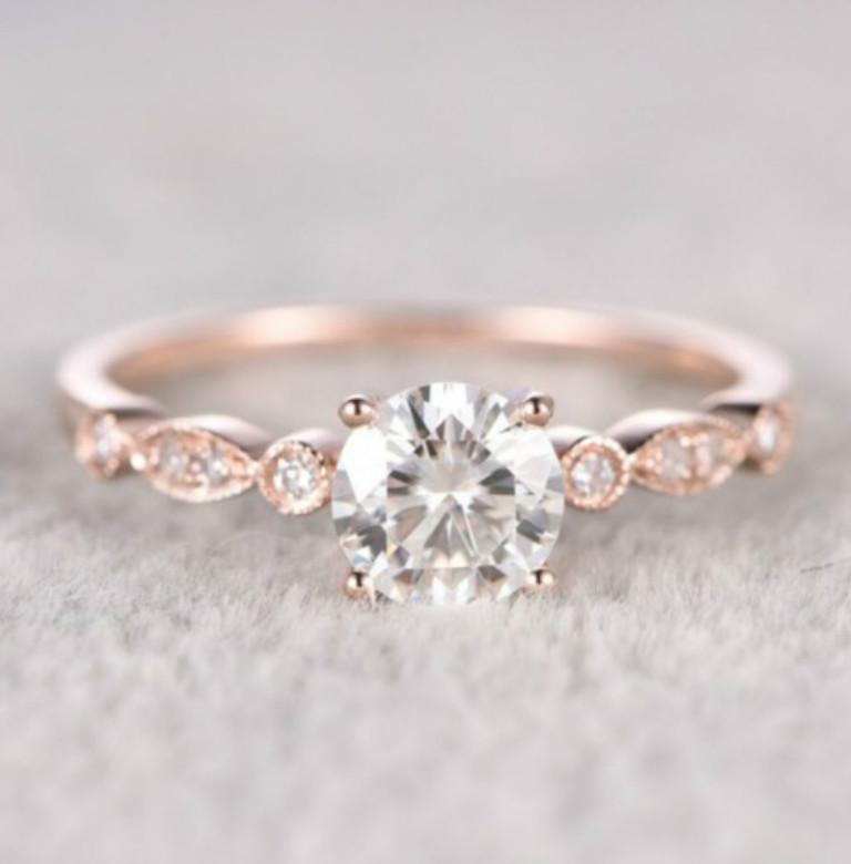 Instagram Explosion Jewelry Women's Fashion Simple Inlay Rhinestone Imitation Rose Gold Ring Wholesale
