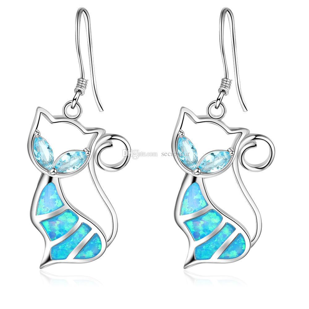 De calidad superior de la manera popular 925 plata esterlina lindo gancho de oreja de gato Pendientes de pescado con Simluated ópalo azul para las niñas