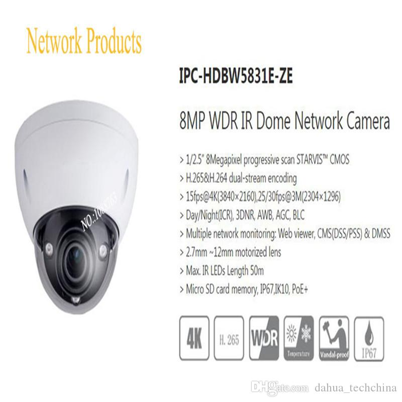 Free Shipping Security IP Camera 8MP WDR IR Dome Network Camera with POE+ IP67 IK10 Without Logo IPC-HDBW5831E-ZE
