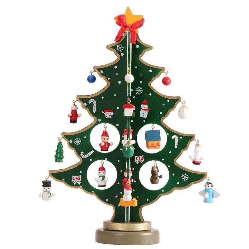 25/30 / 35cm DIY Árbol de Navidad de Madera Regalo de Navidad Creativo Ornamento Árbol de Navidad Mesa de Juguete Decoración de Escritorio Adornos