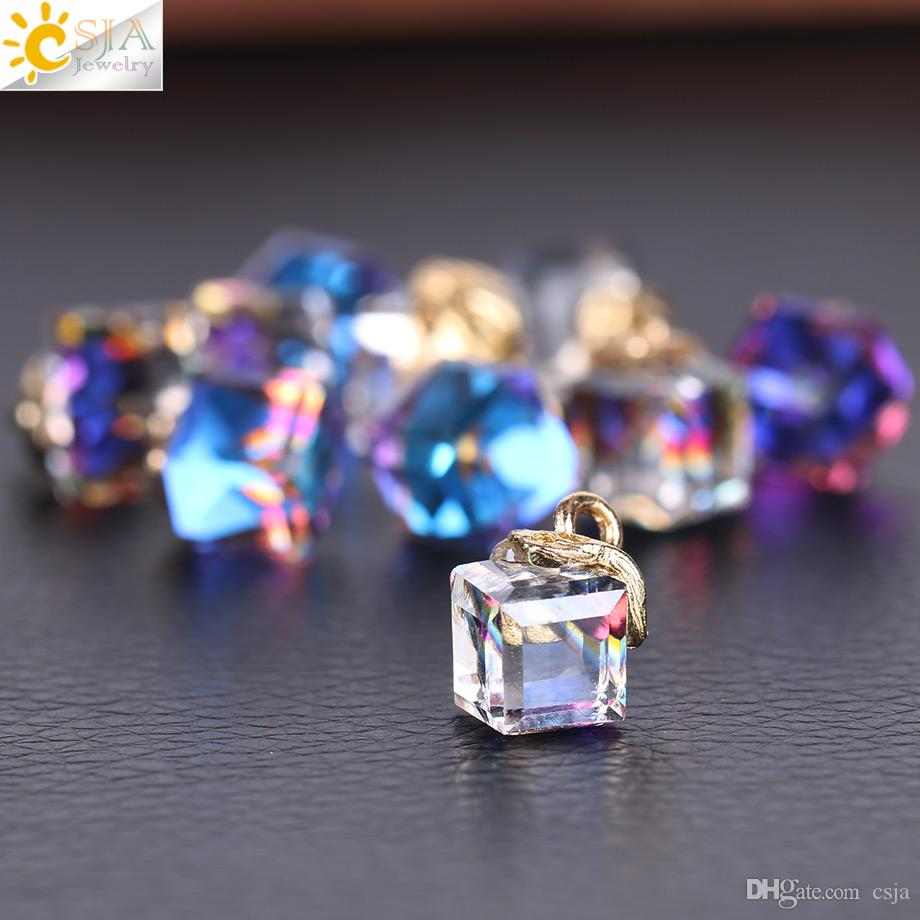 CSJA 10pcs Jewelry Findings Faceted Cube Glass Loose Beads 13 Color Square Shape 2mm Hole Austrian Crystal Bead for Bracelet DIY Making F367
