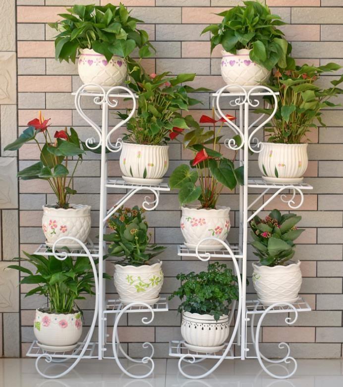 Ablagen Blumenstand Blumenst/änder Edelstahl Platz Sparend Mehrschichtig Innen Wohnzimmer Balkon Einfach Und Modern Landung Blumenregal Pflanzenst/ände