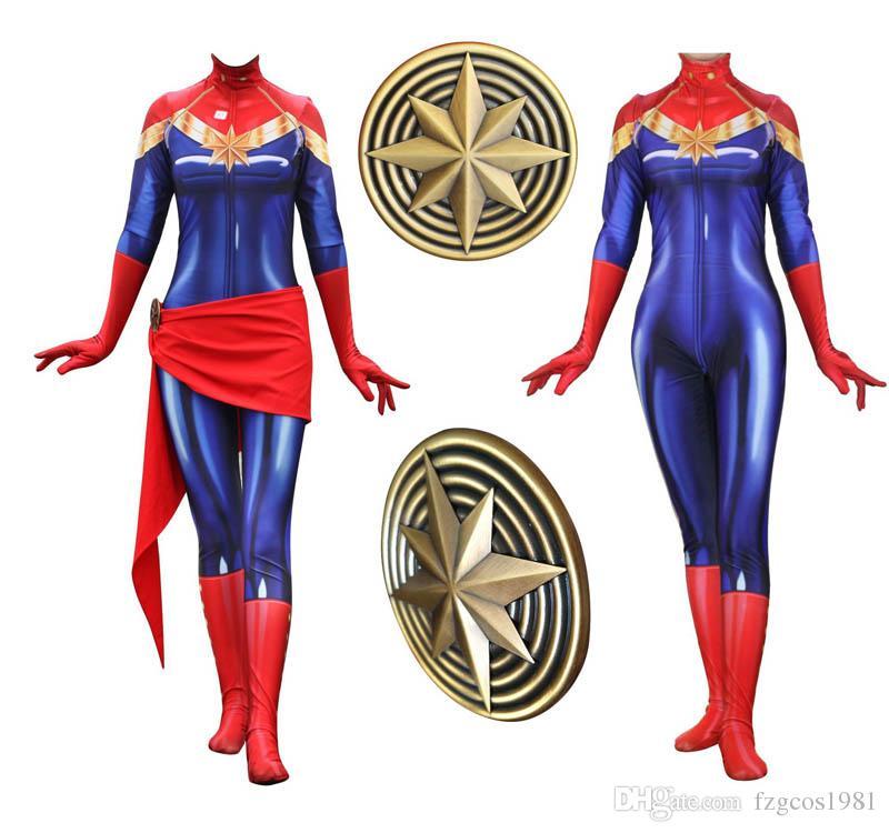 Película Anime Capitán Marvel Carol Danvers Avengers Cosplay Superhéroe Zentai Fiesta de Carnaval de Halloween para mujeres adultas