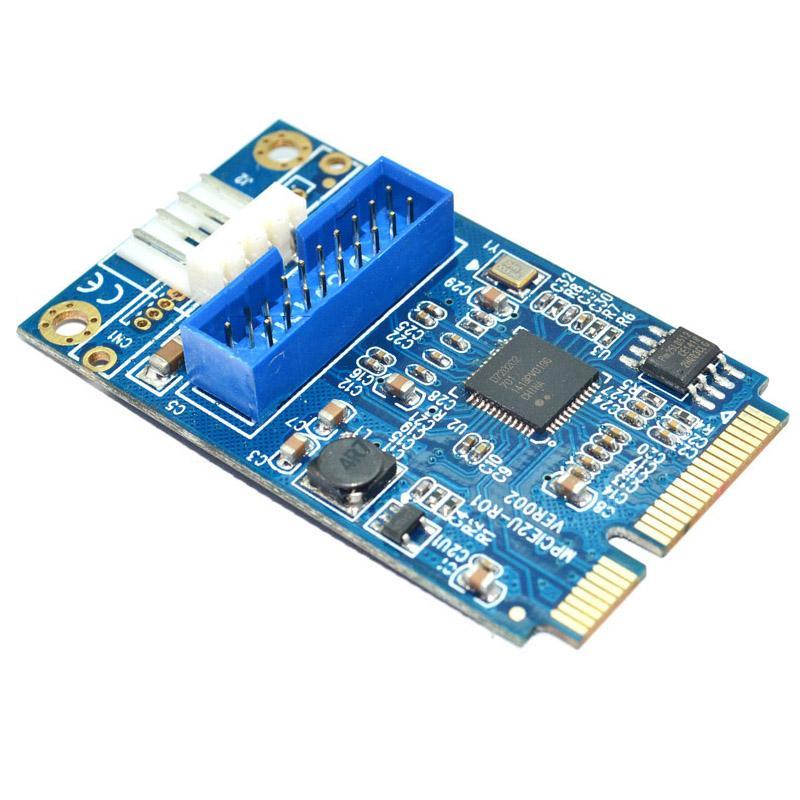 Mini PCIe PCI-e to 2 ports USB w/ Molex 4-pin Power Motherboard Mini PCI Express to Dual USB 3.0 20-pin Expansion Card Adapter,