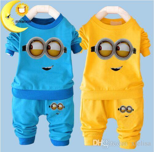 New Baby Boys Clothes Cartoon Casual Kids Minions Suit Infant Girl Long Sleeve Cotton Children Clothes Set T Shirt+Pants 2 Suits