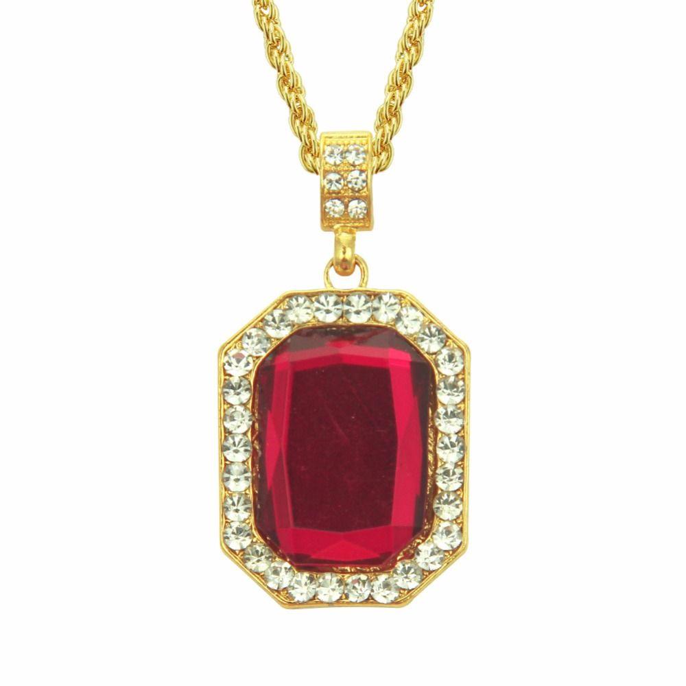Hip Hop Bling Out Cubic Zirconia piedra roja collares pendientes para hombres joyería con cadena de oro de 30 pulgadas