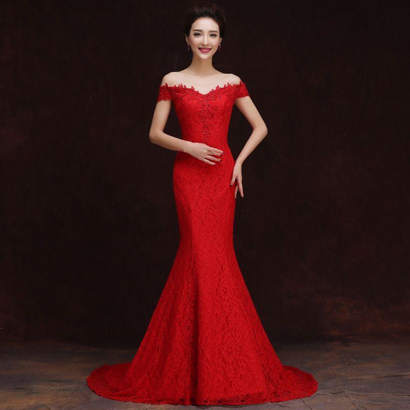 Mode sexy hors-épaule longue robe de soirée femmes dentelle rouge et blanc vestidos amélioré sirène tailing robe moderne qipao chinois mariée
