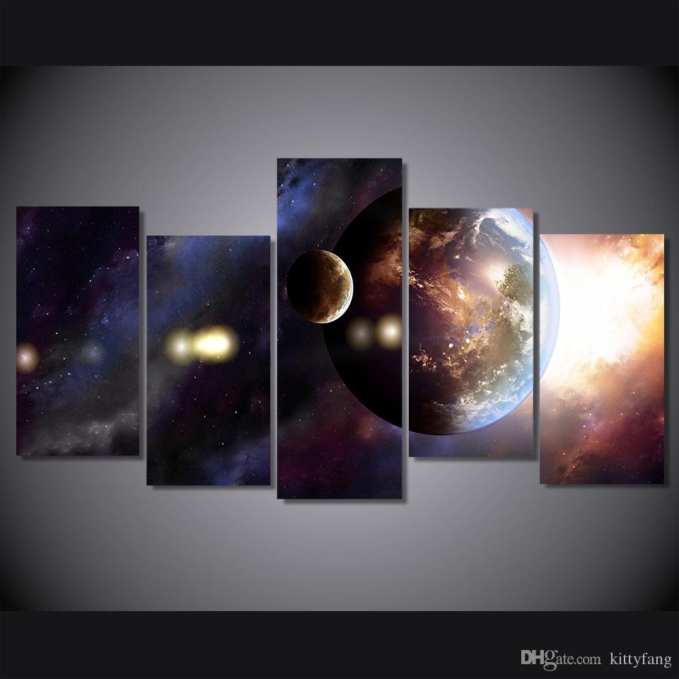 Großhandel 5 Teile Satz Universum Galaxy Planet Poster Gedruckt Wandkunst Bilder Leinwand Gemälde Für Wohnzimmer Wohnkultur Von Kittyfang 3698