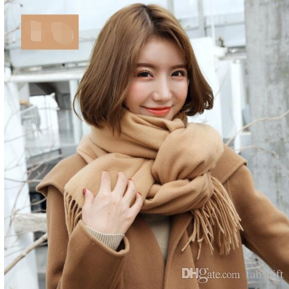 New fashion cashmere scarf for woman autumn and winter pure color shawl thickened warm wool gifts