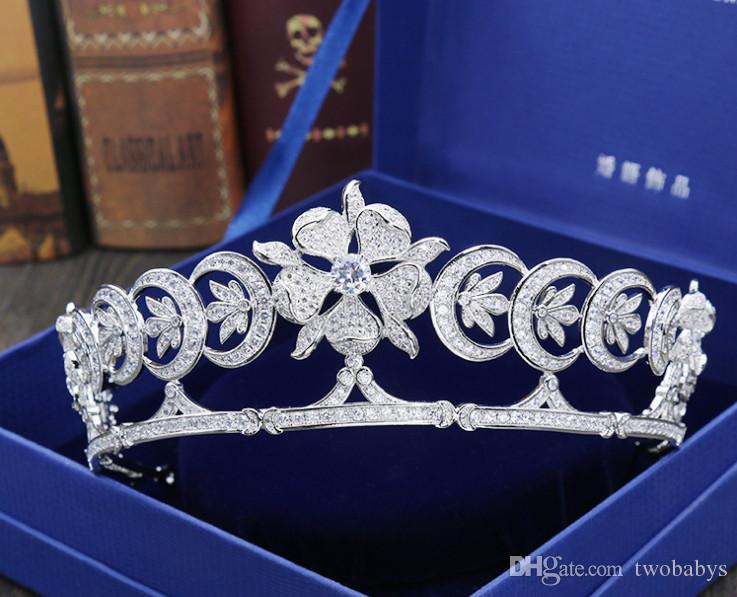High-end Avrupa gelin zirkon taç tiara taç düğün saç aksesuarları gelinlik aksesuarları
