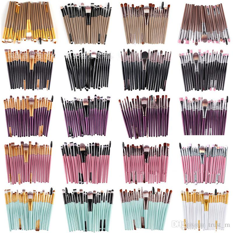 20 Adet Kozmetik Makyaj Fırçalar Seti Pudra Fondöten Göz Farı Eyeliner Dudak Fırçası Aracı Marka Makyaj Fırçalar güzellik araçları epacket