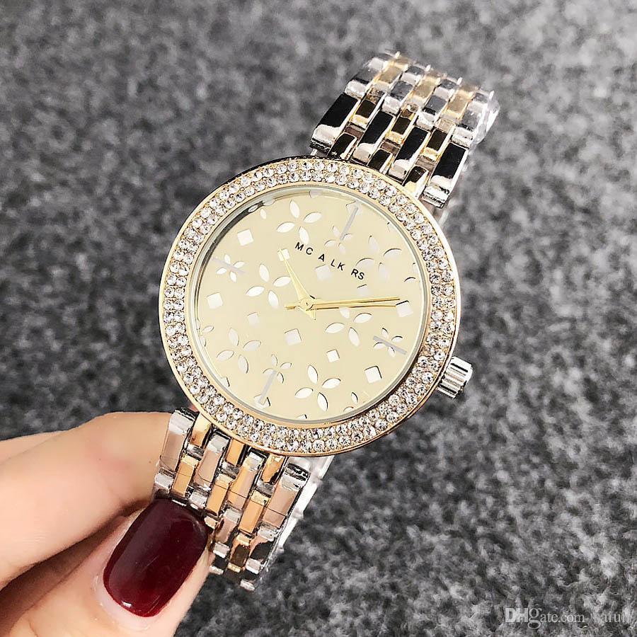 여성 소녀 꽃 크리스탈 스타일의 금속 스틸 밴드 손목 시계 M58에 대한 브랜드 석영 시계