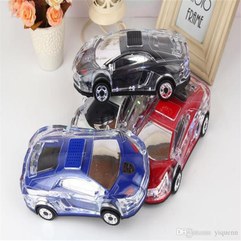 Mini Crystal Car Model Speaker Colorful LED Light Flash Car Shape Bluetooth Wireless Speakers TF Card FM Radio Handfree SoundBox