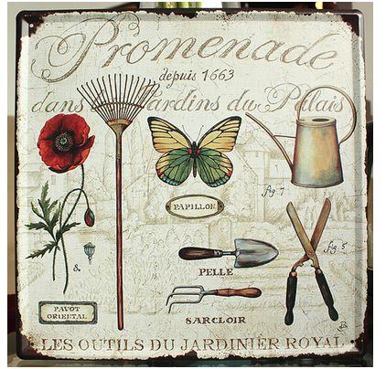 30x30cm 가든 꽃 홈 장식 벽 장식 금속 로그인 틴 로그인 빈티지 아트 포스터 레트로 Plaque \ Plate