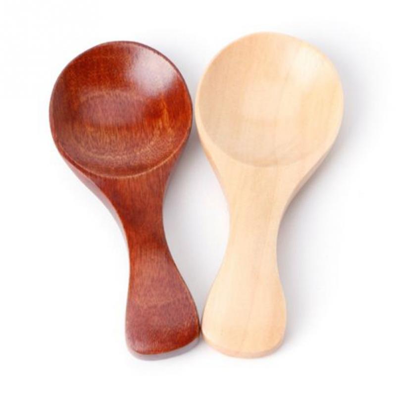 Small Little Mini Natural Wooden Spoon Scoop Tea Honey Coffee Condiment Salt Sugar Spoon 10pcs/set