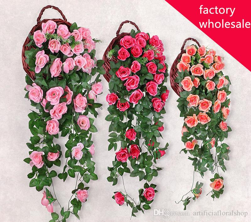 19 heads Artificial Hanging Garland Flowers Wedding & Party Decor Flower String Big Rose Flower Rattan Plant Vines Wall
