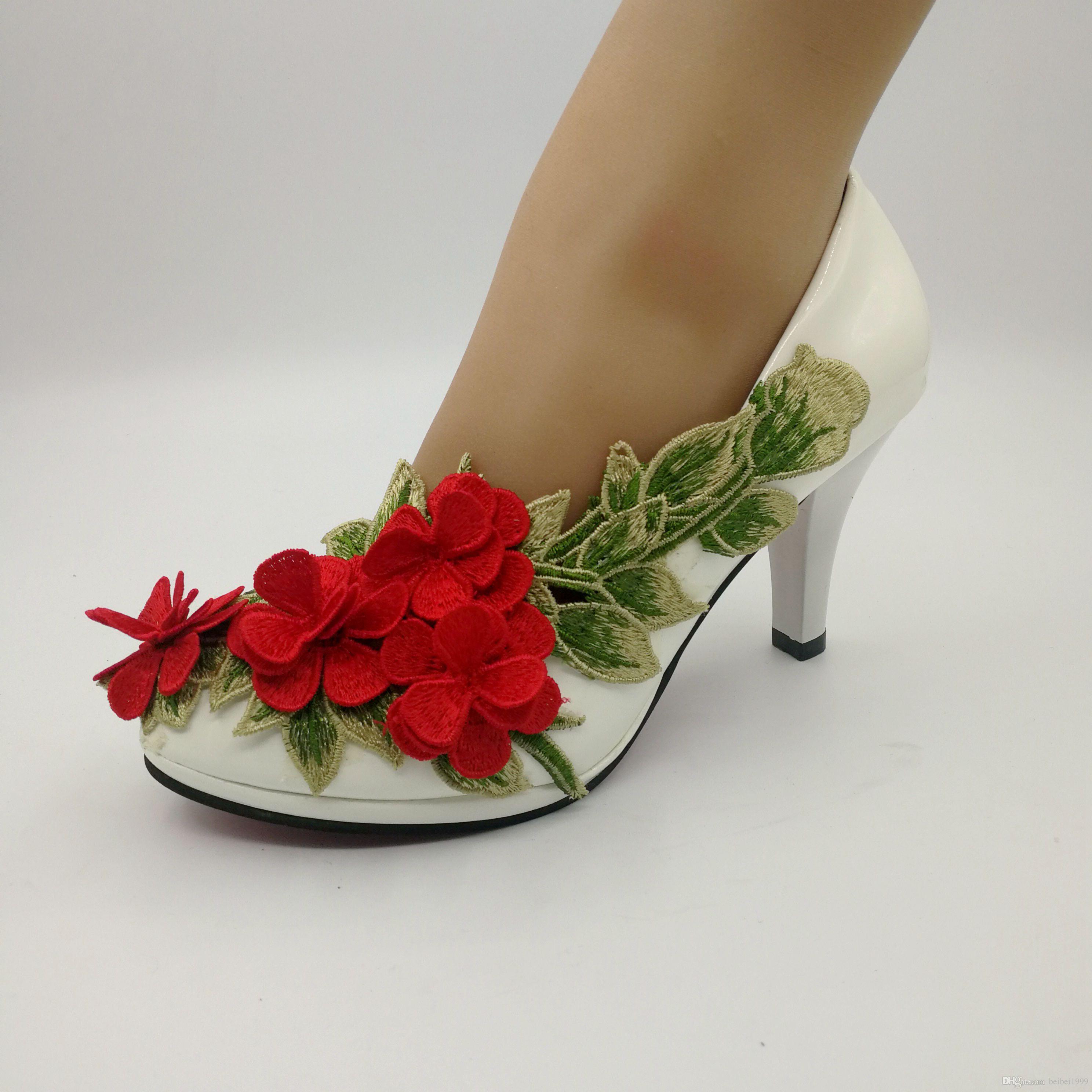 NEW Pump Lace Flower Bridal Shoes Wedding Party Dancing Shoes Beautiful Bridesmaid Shoes Women high heel size EU35-41