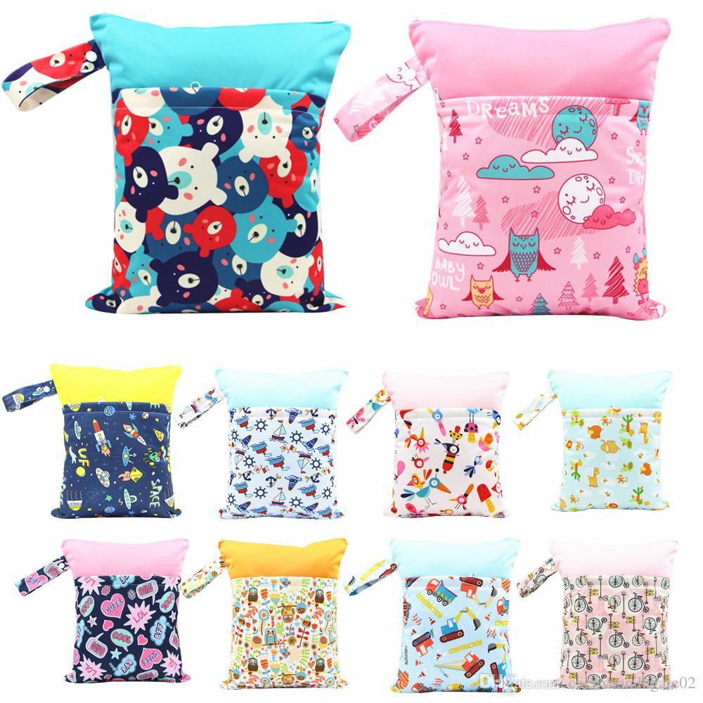 30 Colors Wet Dry Bag Splice Cloth Diaper Wet Bags Waterproof Double Infant Stroller Travel diaper Bag for Swimwear Suit Baby Kids Reusable