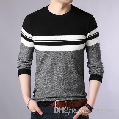 El más nuevo cuello redondo de invierno salvaje otoño invierno suéter a rayas suéter para hombre hombres cobertura suéter suelto versión coreana suéter camisa de fondo