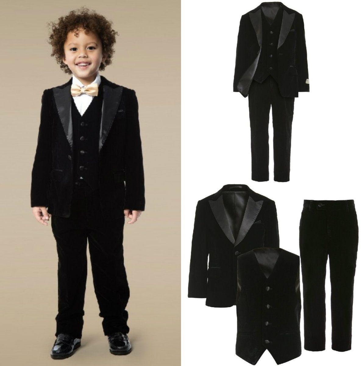 3 Parça Gençler Smokin Custom Made Boys Parti Resmi Pantolon Takım Elbise Takımları Düğün Damat Smokin Boys Için (Ceket + Pantolon + Yelek + Papyon)
