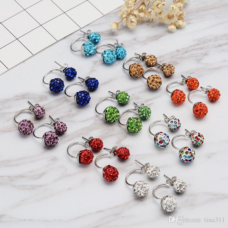 High quality 30 Pairs/lot Jewelry new Rhinestone New disco Ball beads clay Crystal Earrings T2C010