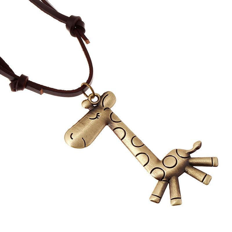 CHAOMO ретро искусство веревки ювелирные изделия жираф кулон свитер ожерелье длинные кожаные аксессуары мода персонализированные ручной работы Оптовая