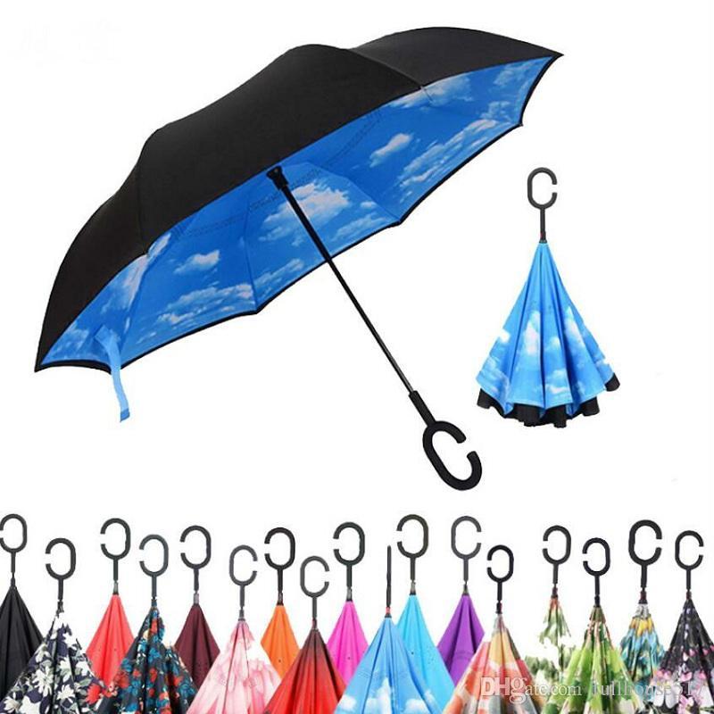 Double Layer Waterproof invertido Umbrella auto pé guarda-chuva c gancho Forma alça de transporte Bolsa mãos livres Inside Out Folding Car Use