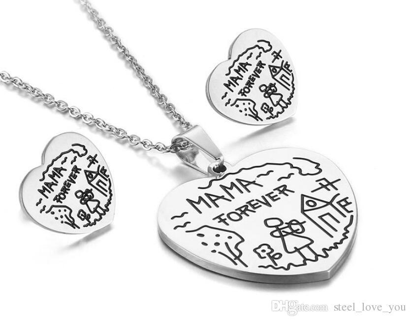 I Love mamá mamá día de la madre pendientes pendiente colgante metal plata