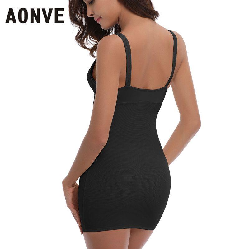 9d7234e4f3e AONVE Women Sey Control Slips Black Nude Body Shaper Waist Trainer Slimming  Underwear Dress Deep V