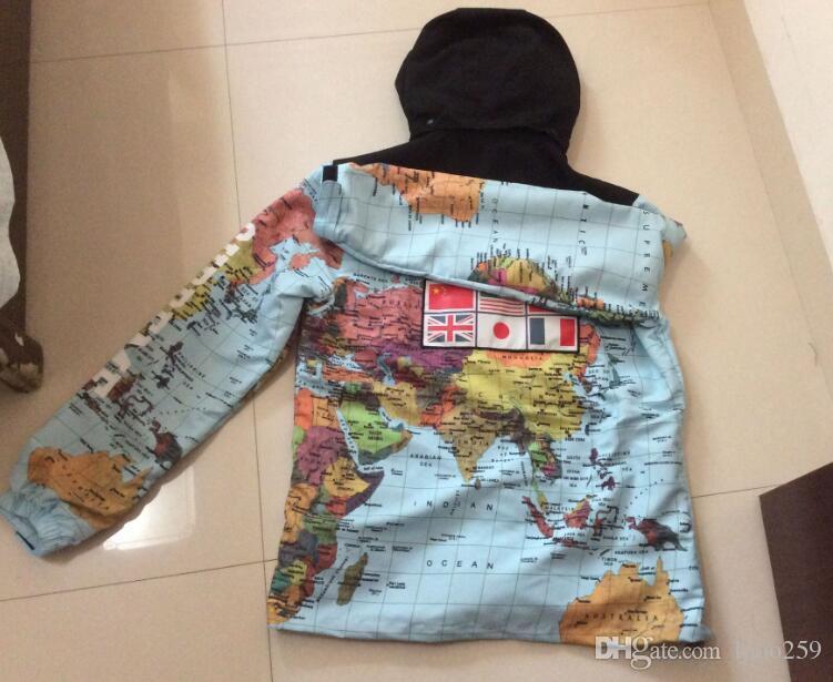 18ss new fashion Luxury clothing Flag mosaic military world Map Jacket Reflective jackets coats Male Windbreaker Coat Hooded