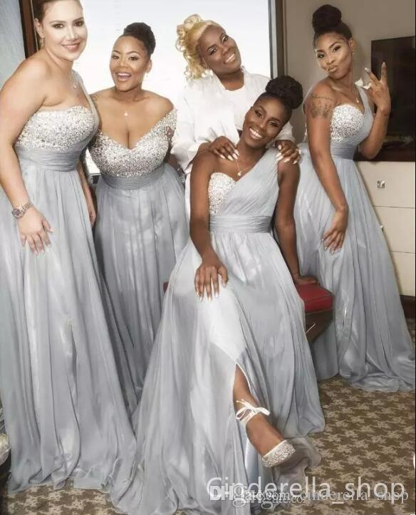 2019 New Silver Plus Size Bridesmaids Dresses A Line Floor Length Major  Beading Africa Arabic Maid Of Honor Wedding Guest Party Prom Gowns Vintage  ...