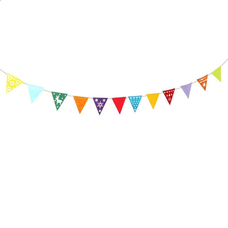 1pc Colorful Pennant Christmas Banner Flags Triangle Felt Garland Bunting Banner Decoration for Holiday Home Kids Room