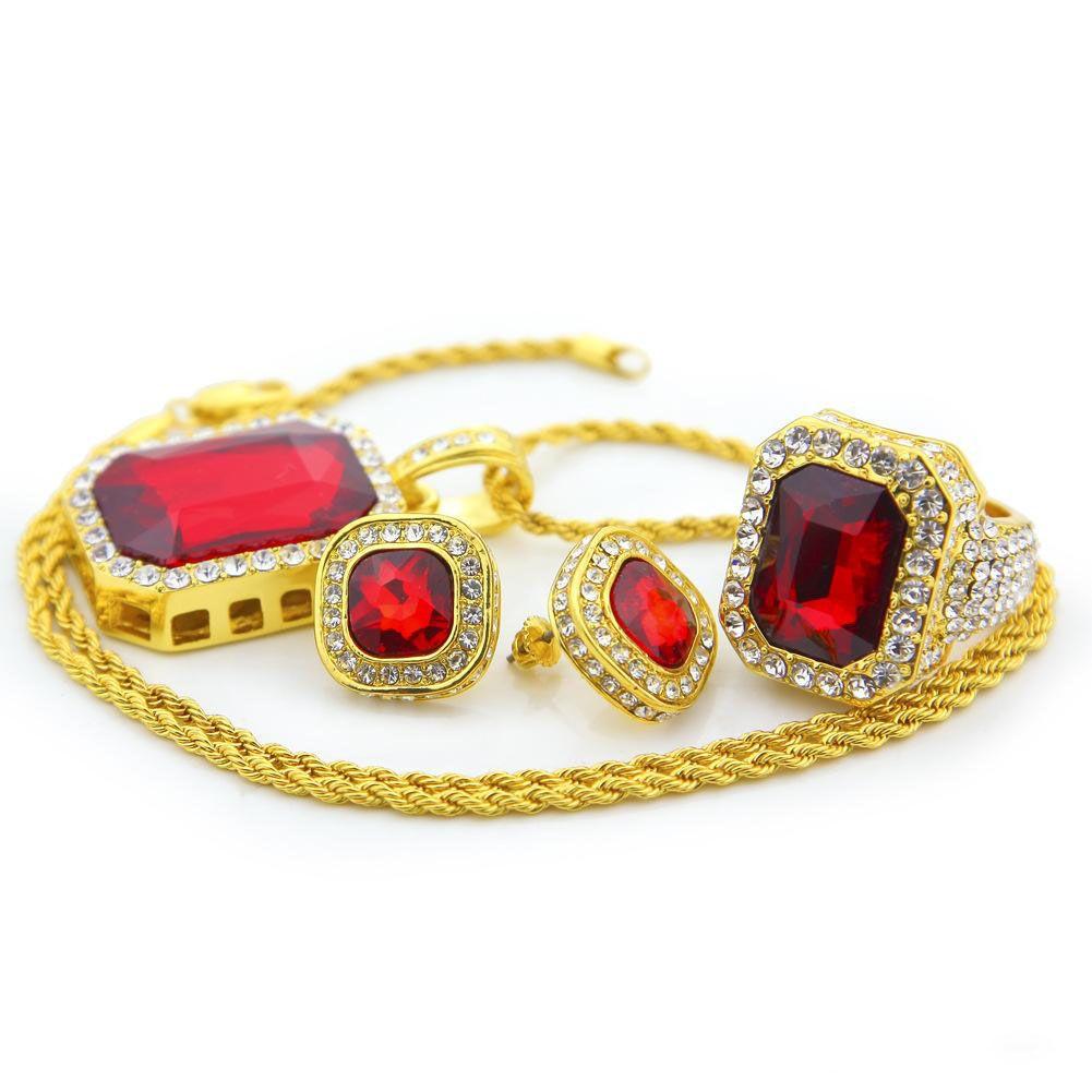Herren Halskette Ring Ohrringe Sets Hip Hop Schmuck mit Zirkon vereist Ketten Vintage Edelstein Anhänger Halskette Edelstahl Schmuck Großhandel