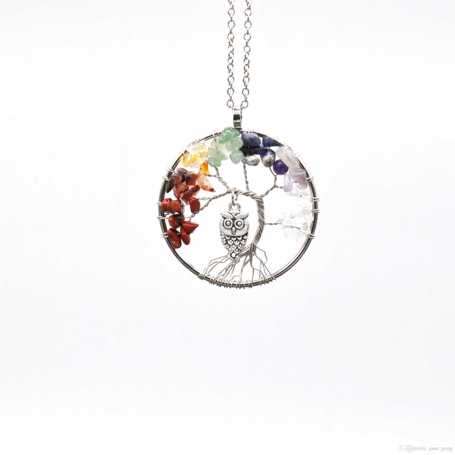 Owl Charms Rainbow 7 Chakra Tree Of Life Crystal Pendant Necklace For Women Hand made Natural Stone Quantz Beads Drops Fashion Jewelry