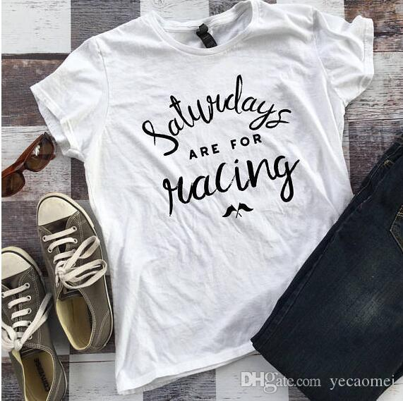 Samstage sind für Racing Letter Print Frauen Baumwolle T-Shirt Sommer Frauen T-Shirt Casual Plus Size