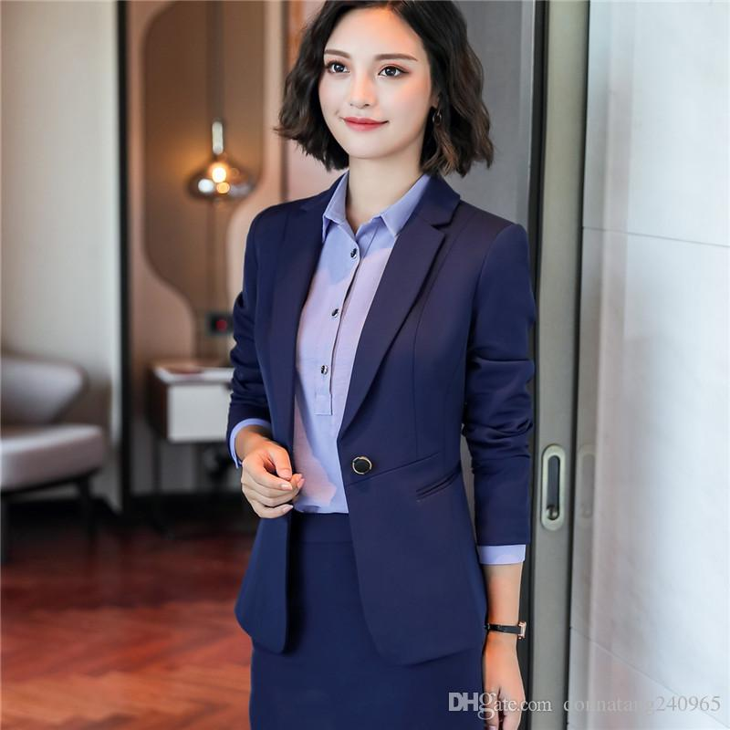 New Fashion Autumn Workwear Women's Suit Long Sleeves Skirt Suits OL Formal Interview Business Elegant Skirt Suits 6009