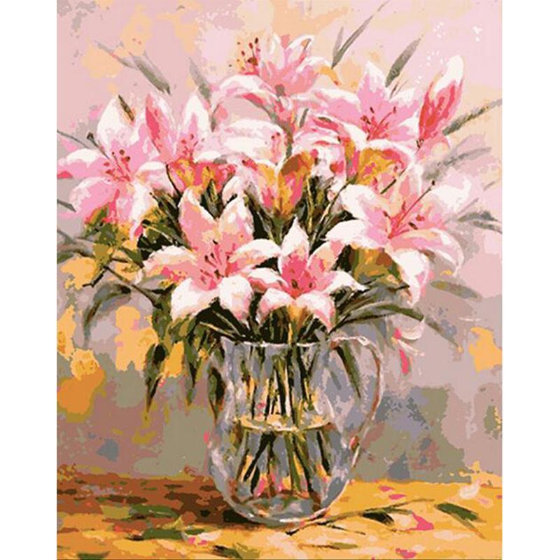 아트 벽 Frameless Pictures 캔버스에 오일 페인팅 Traditional Chinese Flower 홈 장식 DIY Painting by Number v62