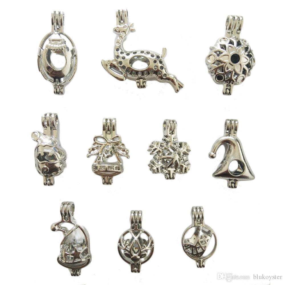 De noël Perles Cage Médaillon Pendentif Charmes 10 pcs Argent Plaqué Cage Pendentif DIY Bijoux Accessoire Partie Fun Cadeaux