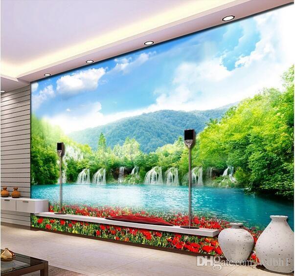 3d обои пользовательские фото горный водопад красивые пейзажи цветы ТВ фон стены гостиная 3d стены muals обои для стен 3 d