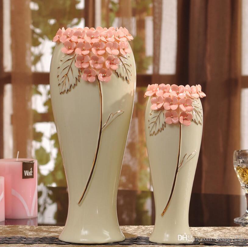 Giallo ceramica creativo contratto fiore vaso vaso casa arredamento artigianale decorazione della stanza artigianato porcellana figurine di porcellana