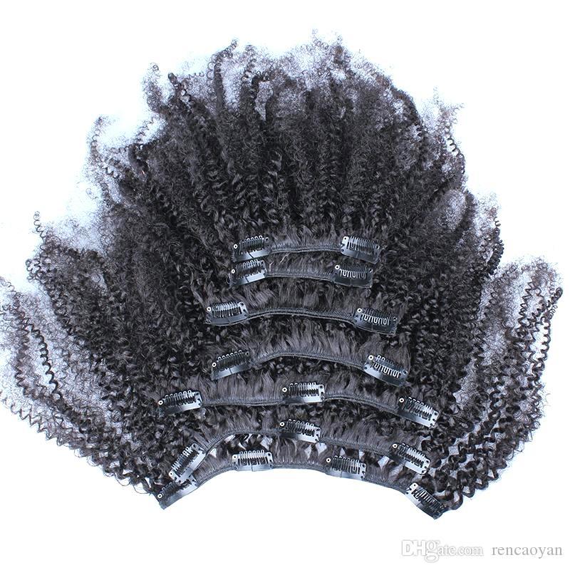 8A 8 pcs afro crespo encaracolado clipe em extensões de cabelo natural preto humano clipe no cabelo 100g clipe em extensões de cabelo para as mulheres negras