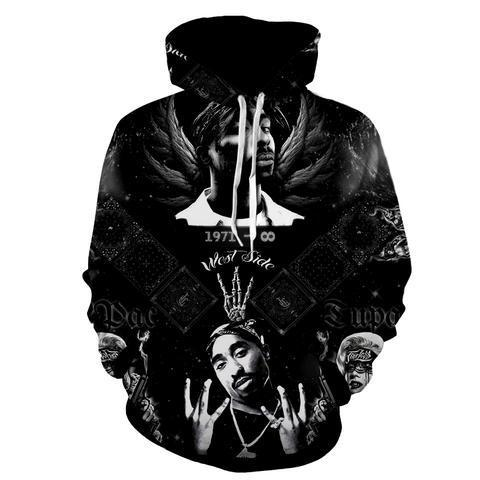 2017 new fashion Cool sweatshirt Hoodies Men women 3D print 2PAC Rap Tupac Hip Hop black Tee hot Style Streetwear Long sleeve