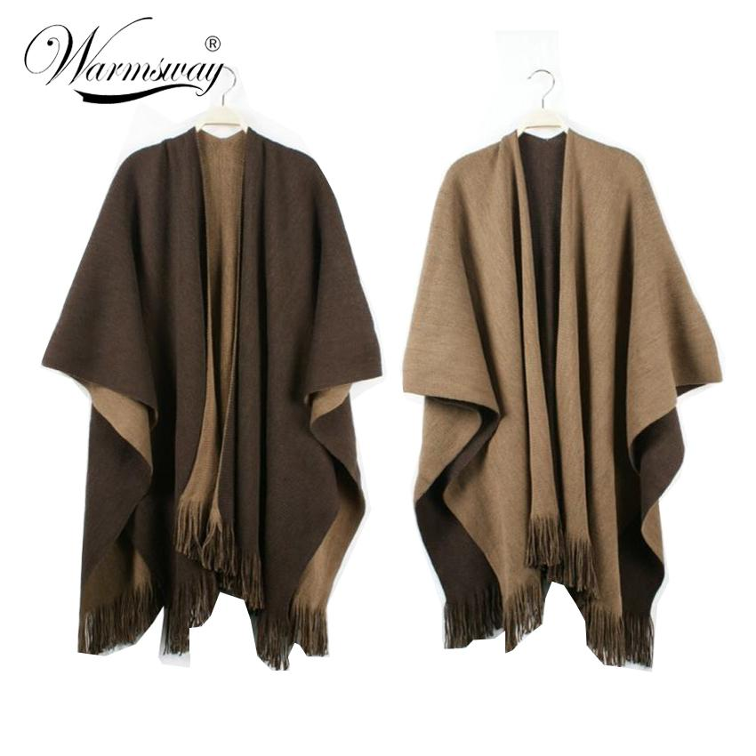 Quality guarantee Oversized Reversible reversed Women Winter Knitted Cashmere Poncho Capes Shawl Cardigans Sweater Coat C-008 Y18102010