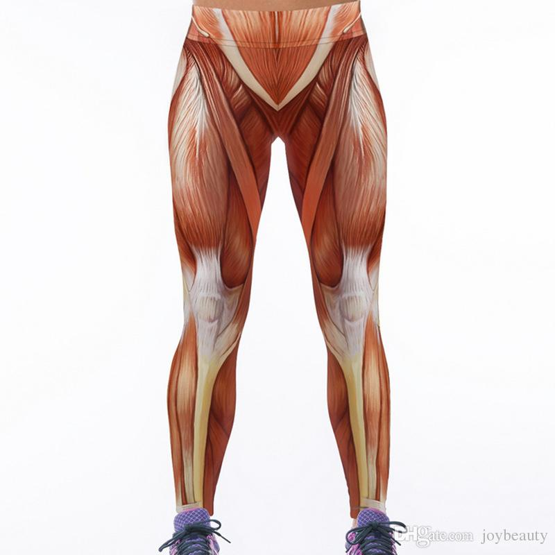 Lady Sport Leggings Muscle 3D Graphic Full Print Fitness Yoga Wear Pants Girl Sportwear Jeggings Woman Skinny Pencil Fit (RLAslgs0034)