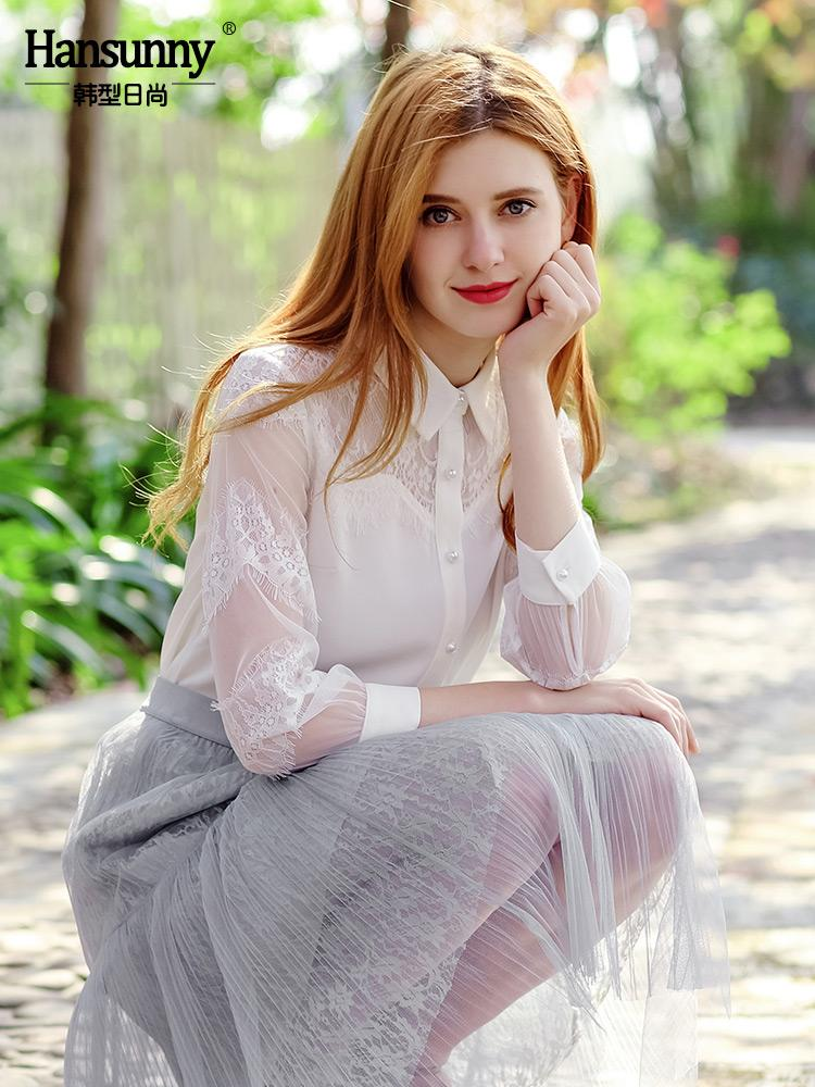 Camisa de siete puntos manguito de desgaste pestañas de malla nuevo temperamento 2019 del verano del otoño de las mujeres de costura del cordón camisa blanca
