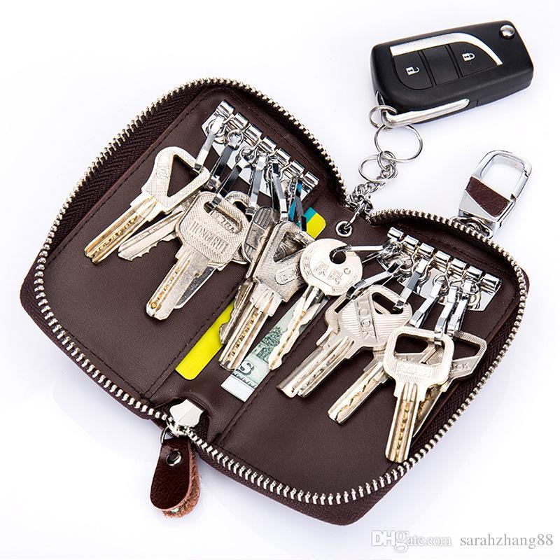 Gorąco ! Unisex Duży skórzany kluczowy portfel skrzynkowy z 12 hakami 1 Brelok / pierścień, portfel uchwytu klucza samochodu