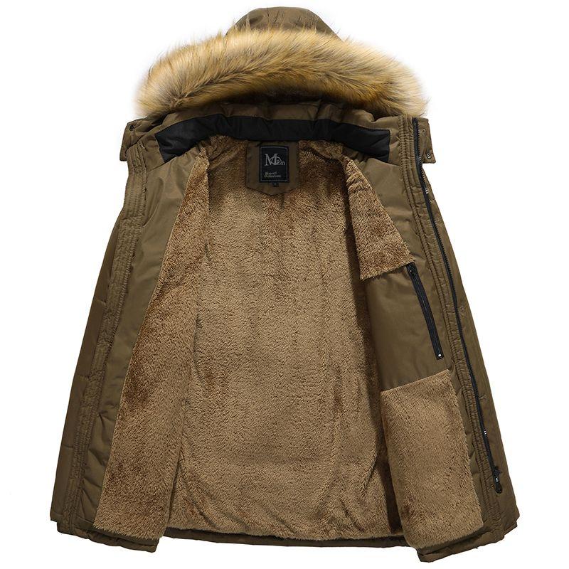 2017 Hombres Casual Parkas Sólido Fleece Chaqueta de Invierno Hombres Con Capucha Gruesa Advierta Abrigo Acolchado Hombre Jaqueta Masculino Inverno Tamaño 5XL