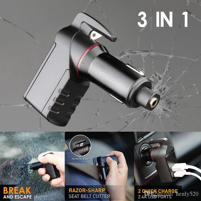 LEBEN ستينغر الهروب USB شاحن الطوارئ أداة سيارة شاحن النافذة قواطع وصوله حزام القاطع الجديد