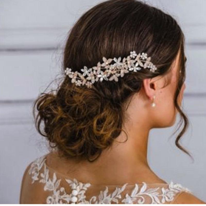 Women Wedding Bridal Pearl Flower Crystal Hair Pins Bridesmaid Clip Side Comb-WI